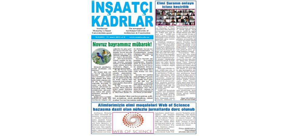 """""""İnşaatçı kadrlar"""" qəzetinin yeni nömrəsində..."""